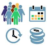 logo for business cases with human resources, planning and savings